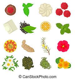 Herbal seasoning icons set, cartoon style