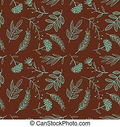 herbal sketch, detox. Seamless pattern brown design