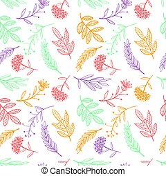 herbal sketch, detox. Seamless pattern colorful design