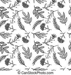 herbal sketch, detox. Seamless pattern design