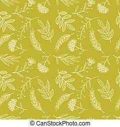 herbal sketch, detox. Seamless pattern golden design