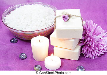 Herbal Soap, Salt, Candles and Flowers