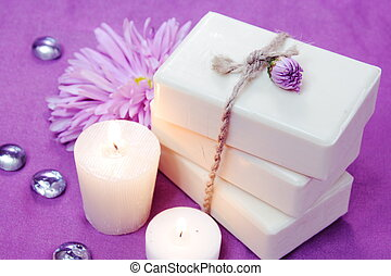 Herbal Soap with Candles and Flowers