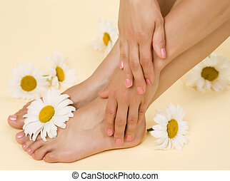 Herbal Spa. Feet And Hands With Daisy Flowers