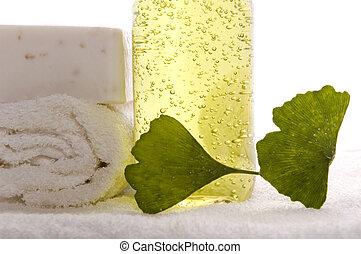 herbal spa - bath items, milk soap, towel, liquid and fresh...