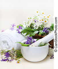 Herbal Spa Set with Mortar and Towel