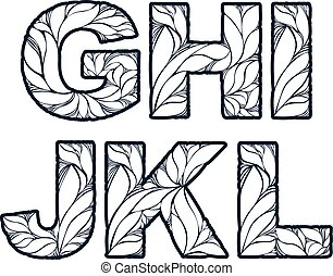 Herbal style single color beautiful font, typeset with floral elegant ornament. G, H, I, J, K, L, capital letters.