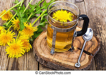 Herbal tea and honey from dandelions on wooden background.