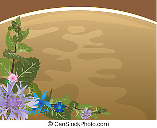Herbal tea background with mint and flowers
