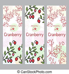 Herbal tea collection. Cranberry banner set.