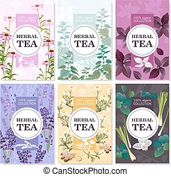 Herbal Tea Colored Banners Set - Collection of spices and...