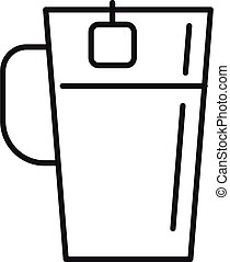 Herbal tea cup icon, outline style