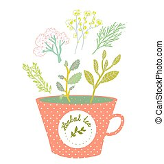 Herbal tea cup - retro style  illustration
