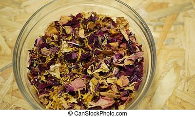 Herbal tea dried blend mixture of rose glass jar cup, ...
