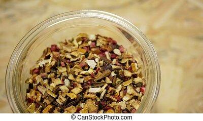 Herbal tea dried blend of rose glass jar cup, apple, lemon ...