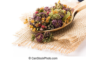 Herbal tea. - Dry herbal tea isolated on the white...