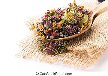 Herbal tea. - Dry herbal tea isolated on the white...