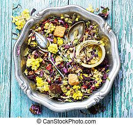 Herbal tea flower leaves