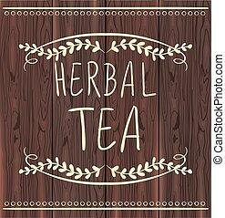 Herbal tea handdrawn letters in vignette