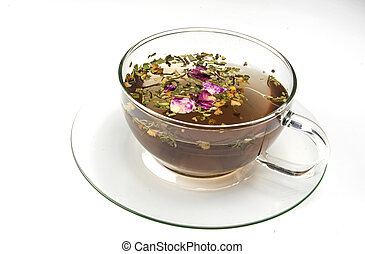 Herbal tea in a cup on white