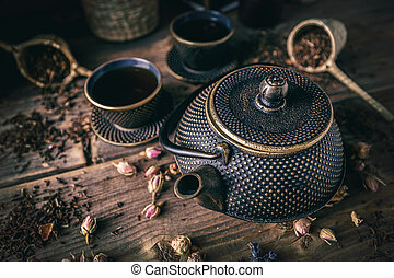 Asian tea set concept
