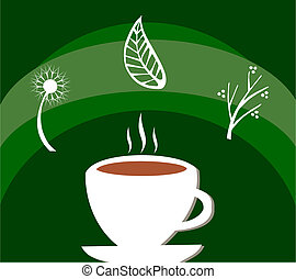 White cup full of tea and leaves with herbs floating around over green background