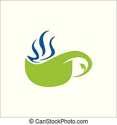 Herbal tea logo vector. some Tea leaf form a cup of warm tea herbal drink.