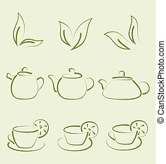Illustration herbal tea, set cups and teapots - vector