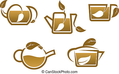 Herbal tea symbols and icons
