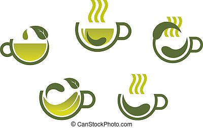Herbal tea symbols isolated on white background for beverage product design