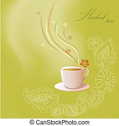 The illustration shows the pink cup with green tea on a light green background with decorative floral ornament. Illustration done on separate layers, there is a place for the text block.