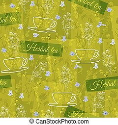 Herbal tea theme floral background.  Seamless vector pattern.