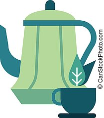 herbal tea pot vector illustration in gradient design