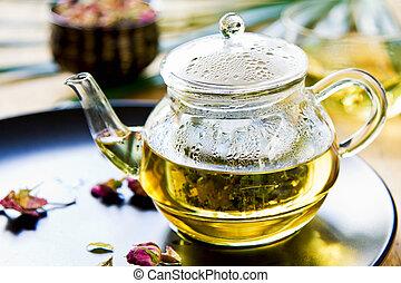 Verbena, Mint and Rose buds as mix herbal tea in a tea pot