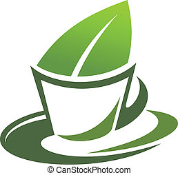 Herbal tea with a green leaf