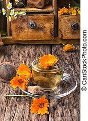 Herbal tea with calendula