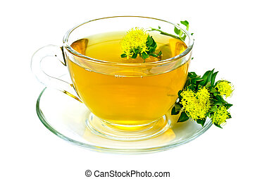 Healing herbal tea in glass cup with flowers Rhodiola rosea on the saucer isolated on white background