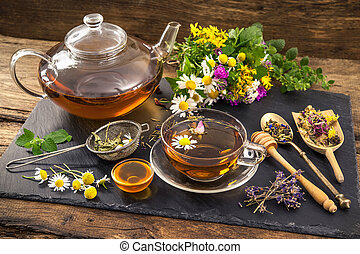 Herbal tea with honey - Cup of herbal tea with honey