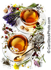 Herbal tea with honey, wild berry and flowers on wooden...