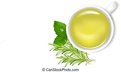 Herbal Tea With Mint And Rosemary, Isolated On White Background, Vector Illustration