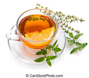 Herbal tea with mint thyme and lemon.