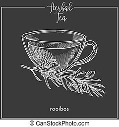 Herbal tea with rooibos in elegant glass cup. Delicious hot ...