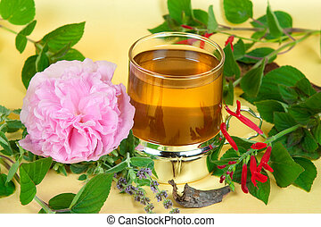 Herbal tea, with sage and mentha