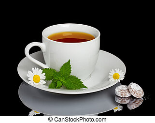 Herbal tea with sweet candys