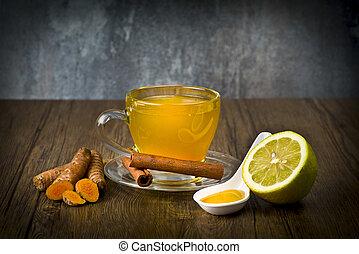 herbal tea with turmeric powder