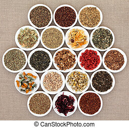 Herbal Teas - Herbal tea selection in white porcelain dishes...