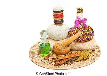 herbal Thai ingredient for relaxing spa massage
