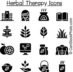 Herbal Therapy & Hospital icon set