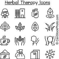 Herbal Therapy & Spa icon set in thin line style