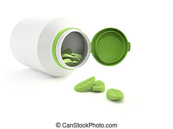 Herbal vitamins. Empty space on medicine bottle - add your...